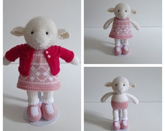 Hand Knitted Sheep in Pink.