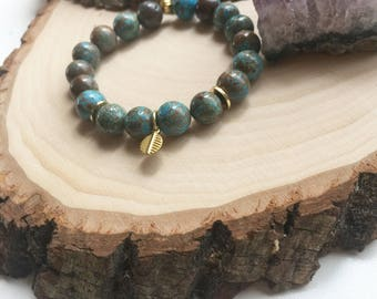 Turquoise / Gold Gemstone Single Bracelet
