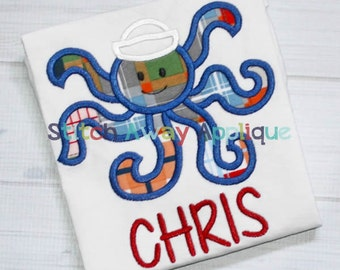 Octopus Boy Summer Beach Nautical Machine Applique Design