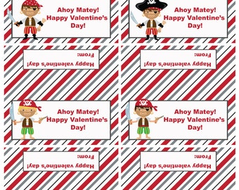 Valentine Pirate Treat Bag Toppers, Valentine's Day, Printable, Instant Download, Digital