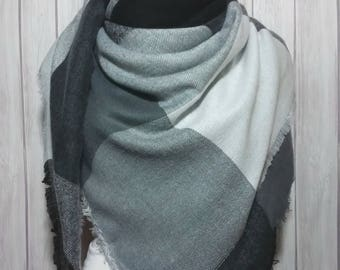 Blanket Scarf in Charcoal, Grey, Black, Christmas Scarves for Men, and Women
