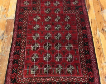 Vintage turkoman  buhara rug Carpet hand made wool and wool red color 39.37x62.99inc 100x160cm