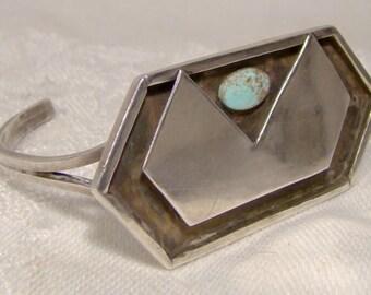 Sterling Turquoise Navajo Bracelet 1960s-1970s