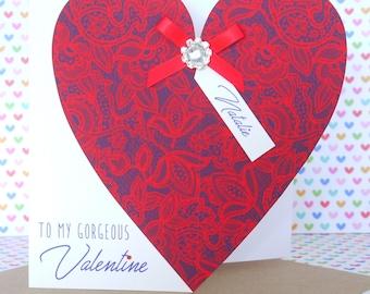 Beautiful Personalised Handmade Valentine Valentines Valentine's Day Card