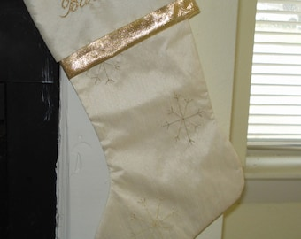 Personalized Christmas Stocking Silk Dupioni