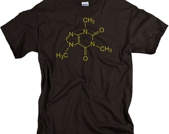 Coffee Shirt for Men - Science Gifts - Caffeine Molecule - Funny Chemistry Tshirts