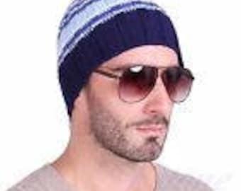 Men Stretch Cable Knit Beanie Hat Cap