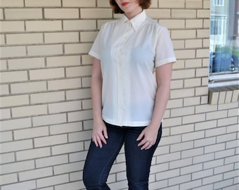 70s cream blouse, Large vintage polyester shirt, 1970s Lee Mar clothing, short sleeves