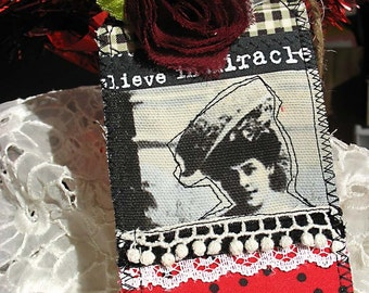 Old Fashion Parisian Woman Fabric Collage LARGE Gifttags-card-mothers day-valentine-red-cream-black-old fashioned-hang tag-gingham-french