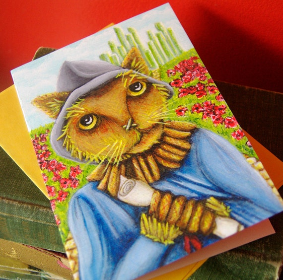 Scarecrow Cat Wizard of Oz Greeting Card