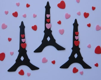 12 edible EIFFEL TOWER & 40 love HEARTS cake cupcake wedding topper decoration party wedding birthday engagement anniversary fashion girls