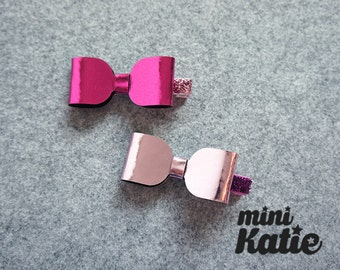 mini Katie Metal Glossy Bow Hair Barrette Hair clips hair Accessory for Baby girls Toddlers and girls