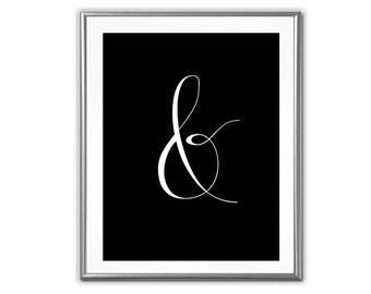 SALE-Ampersand Black & White-Digital Print-Wall Art-Digital Designs-Quote Printable-Gallery Wall-Photo Prop-Typography-Symbol Art