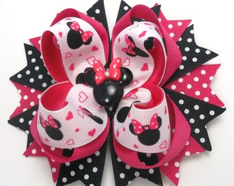 Mouse Hot Pink And Black Hair Bow, Boutique Mouse Hair Bows, Mouse Hair Clips, Girls Hair Bow