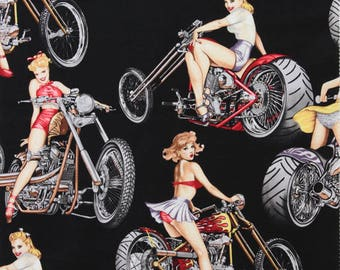 Alexander Henry Hot Wheels 100% Cotton Fabric Female Pin Ups Black