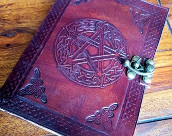Leather Pentacle Handmade Journal  Diary, Book of Shadows