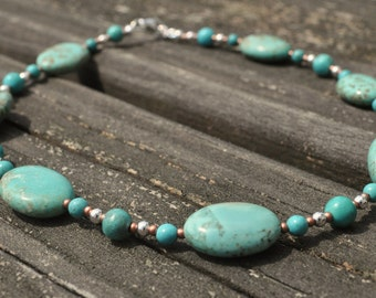 Girl's Necklace: Turquoise and Copper Glass