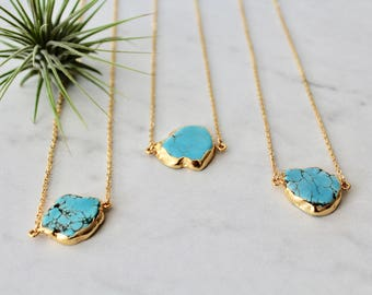 Raw Turquoise  Necklace Wrapped in 24k Gold Dipped On A 24k Gold Plated Chain Dainty Flat Pendant Necklace