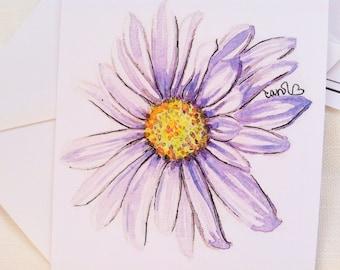 Purple daisy flower watercolor illustration flat note card
