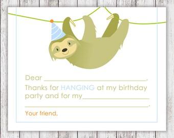 PRINTABLE Sloth Thank Yous - #DIY #Printable #Digital #File (instant download)