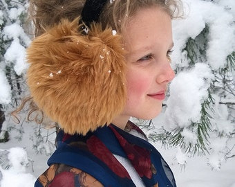 Earmuffs for adults/ children, winter earmuff, faux fur earmuffs, Christmas gift, brown earmuff, warm earmuff, soft earmuffs