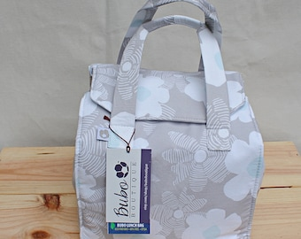 Bento Box Reusable, Insulated Lunch Bag, waterproof lining, BPA Free, Food Friendly, white flower, washable, school lunch, work lunch bag