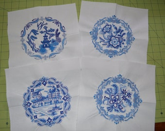 Delft Blue Embroidered Quilt Squares, Premade (set) of 4, 9 inch on medium weigh fabric