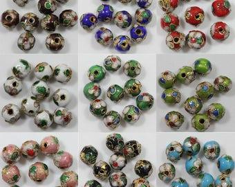 Cloisonne Enamel Mixed Color Beads 6mm