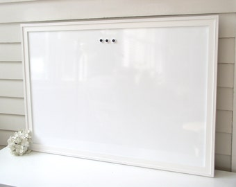 DRY ERASE Whiteboard - Extra Large MAGNETIC Board - Solid Wood Framed Memo Board - Deluxe Handmade White Beaded Frame and Button Magnets