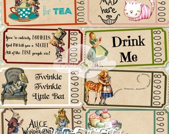 Alice in Wonderland Digital Tickets Tags Digital Alice Tea Party Time Mad Hatter Alice Quote Alice Wedding Alice Decoration