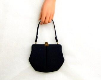 Vintage 50s Evening Handbag Faille, Navy blue, Dark Blue