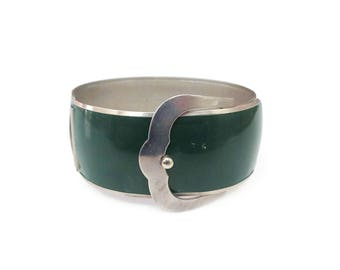 Art Deco Buckle Bangle Bracelet - Silver Chrome Metal, Dark Green Enamel, Wide Bangle, Art Deco Jewelry