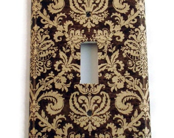 Switch Plate Light Switch Cover Wall Decor Light Switchplate  in Brown and Cream Damask (221)