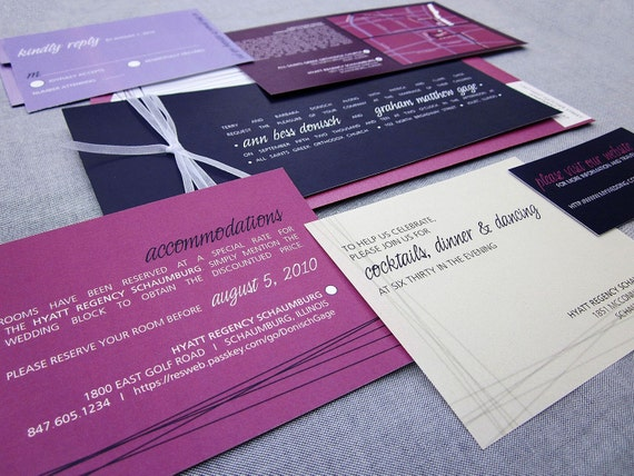 Wedding Invitations With Purple Ribbon: Items Similar To Eggplant, Fuschia And Lilac Invites With