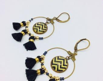 Black geometric tassel earrings