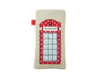 iPhone 8 Plus Case, iPhone X Sleeve, SE iPhone Case with Pocket, Red Telephone Box Phone Pouch, London Gifts