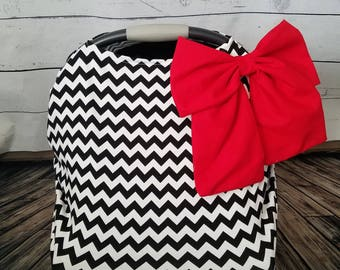Car seat Cover Nursing cover Shopping Cart Cover 3 in1 stretchy carseat cover with Large bow
