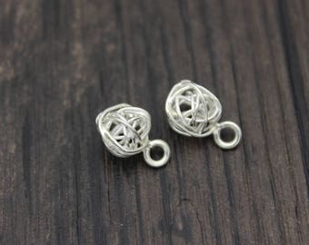 2pcs-8mm Karen Hill Tribe Sterling Silver Wire Ball Charms