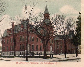 VINTAGE  POSTCARD, St. Johnsbury Academy, St. Johnsbury, Vermont, collected by junqueTrunque