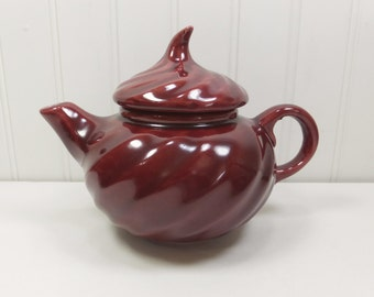 Small Swirl Lid Teapot, Deep Red Burgundy Glazed Ceramic USA 263 Shawnee?