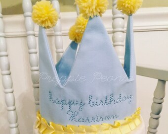 Blue and Yellow Accent Birthday Crown