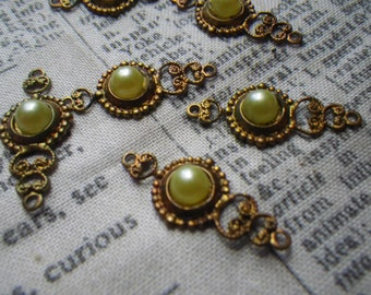 Sunny Yellow Wax Cabs Vintage Glass Fancy Filigree Brass Ox Drops 6 Pcs