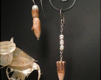 E1560 asymmetrical handcarved wood + pearl earrings