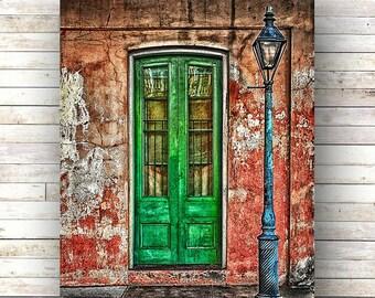 New Orleans Art BEHIND GREEN DOOR French Quarter Doors Architecture Door Photography Gas Lampost Shutters Green Door Nola Brick Stoop