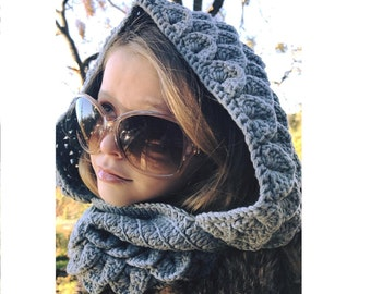Dragon Scale Hooded Cowl Super Soft Cotton Yarn, Adult Size