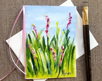 Art card Original hand painted card Original hand painted greeting card Landscape painting on canvas card Hand made card  Birthday card