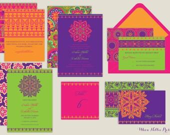 Indian Wedding Invitations - Hindu Invitations with Colorful Mandalas - Asian Wedding - Mendhi Diwali Sari - Arabian Nights Wedding Suite