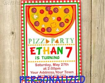 Pizza Party Invitation - Pizza Party Birthday Invite - Pizza Personalized, Digital File