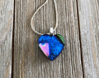 Small Heart Dichroic Fused Glass Pendant, Pendant, Necklace, Heart Pendant, Patchwork, Small, Petite,  Silver Plated, Chain
