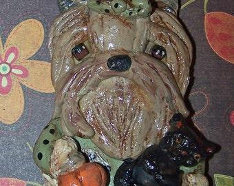 Boutique Folk Art Yorkshire Terrier Dog Yorkie Halloween Ornament Handmade Ooak